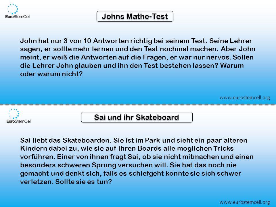 Johns Mathe-Test John hat nur 3 von 10 Antworten richtig bei seinem Test.