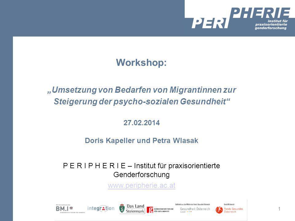 1 05.05.2011 Workshop: Umsetzung von Bedarfen von Migrantinnen zur Steigerung der psycho-sozialen Gesundheit 27.02.2014 Doris Kapeller und Petra Wlasa