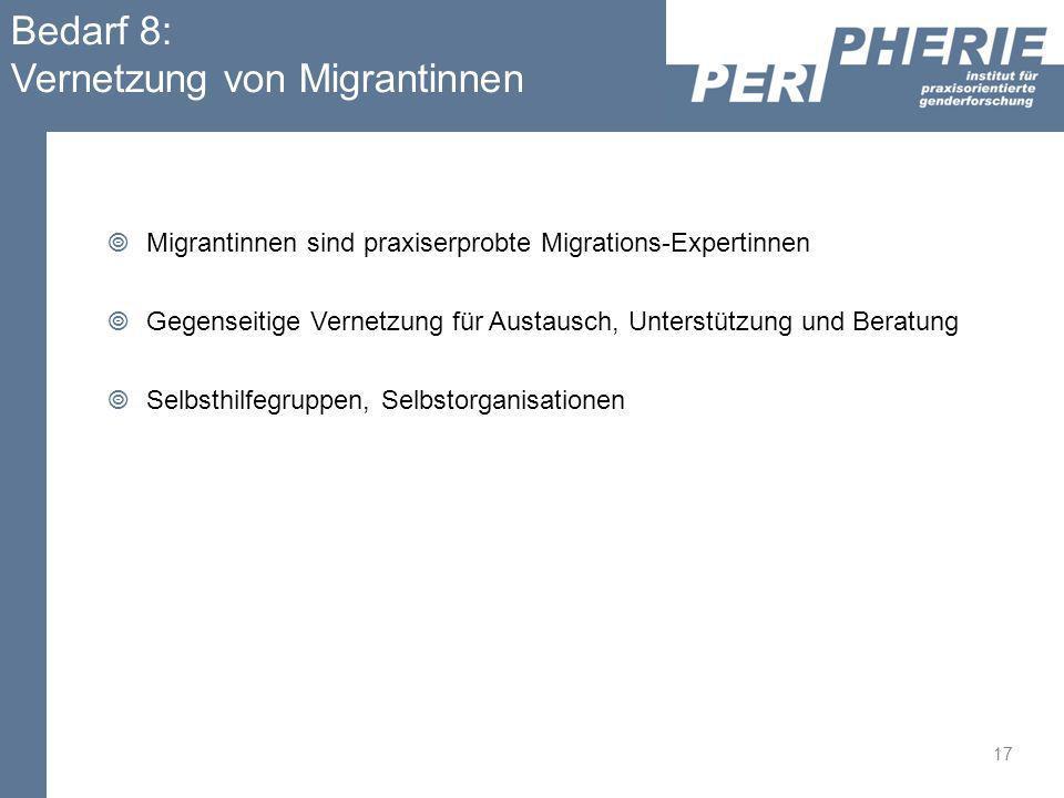 Bedarf 8: Vernetzung von Migrantinnen Migrantinnen sind praxiserprobte Migrations-Expertinnen Gegenseitige Vernetzung für Austausch, Unterstützung und