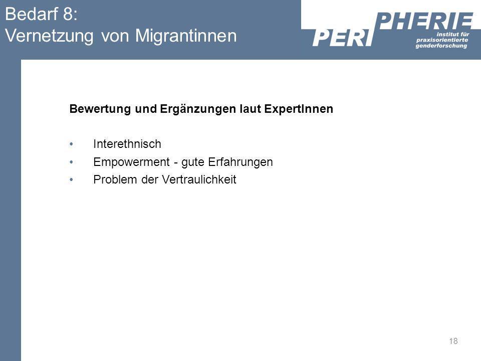 Bedarf 8: Vernetzung von Migrantinnen Bewertung und Ergänzungen laut ExpertInnen Interethnisch Empowerment - gute Erfahrungen Problem der Vertraulichk