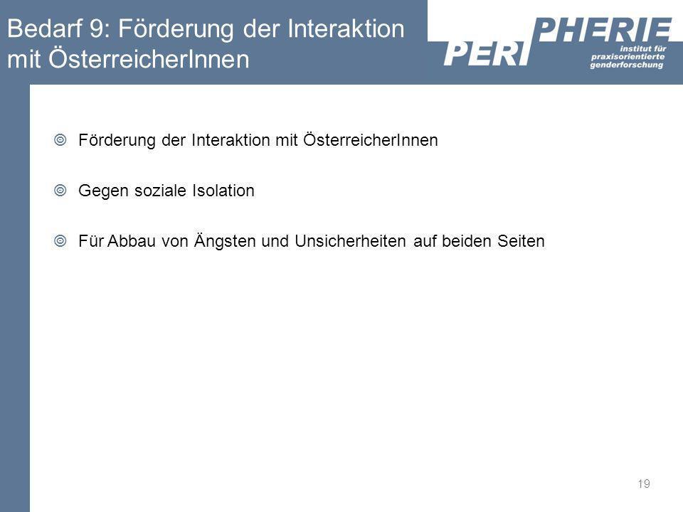 Bedarf 9: Förderung der Interaktion mit ÖsterreicherInnen Förderung der Interaktion mit ÖsterreicherInnen Gegen soziale Isolation Für Abbau von Ängste