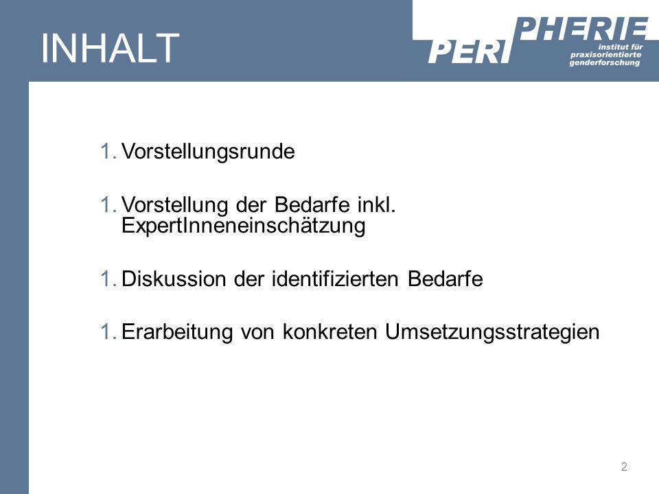 2 INHALT 1.Vorstellungsrunde 1.Vorstellung der Bedarfe inkl. ExpertInneneinschätzung 1.Diskussion der identifizierten Bedarfe 1.Erarbeitung von konkre