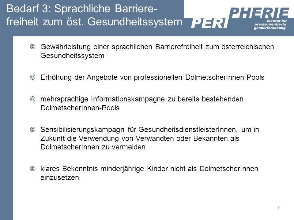 Bedarf 3: Sprachliche Barriere- freiheit zum öst. Gesundheitssystem Gewährleistung einer sprachlichen Barrierefreiheit zum österreichischen Gesundheit