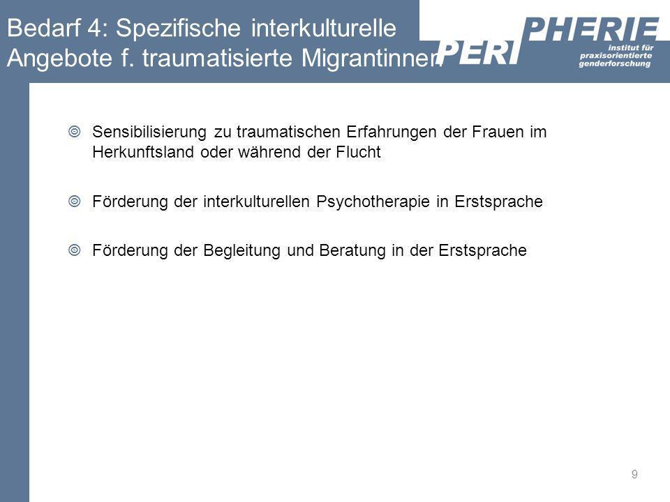 Bedarf 4: Spezifische interkulturelle Angebote f.