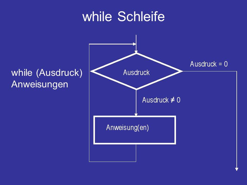 while Schleife while (Ausdruck) Anweisungen