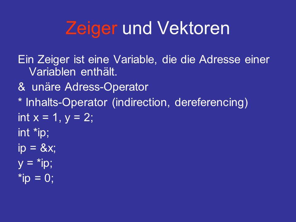 Zeiger und Vektoren Ein Zeiger ist eine Variable, die die Adresse einer Variablen enthält.
