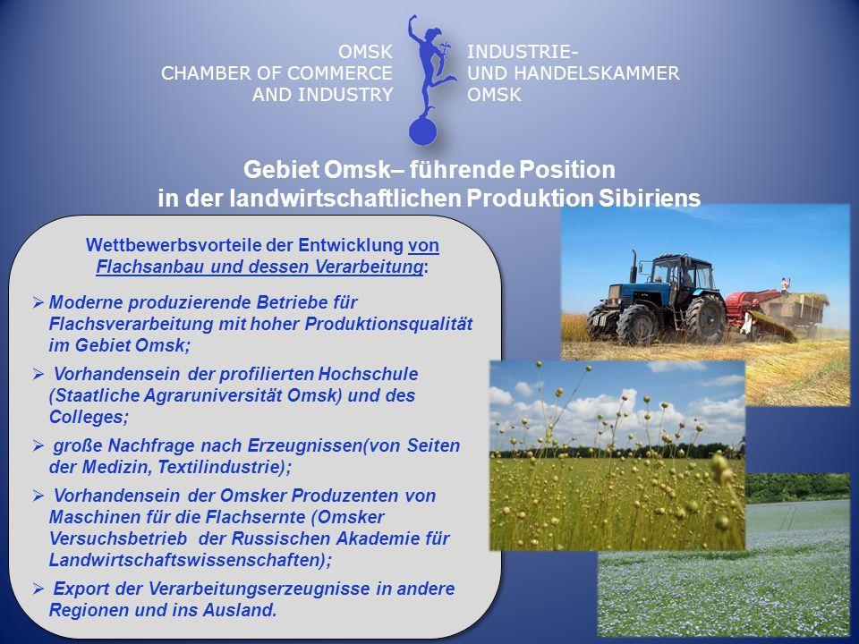 Gebiet Omsk– führende Position in der landwirtschaftlichen Produktion Sibiriens OMSK CHAMBER OF COMMERCE AND INDUSTRY INDUSTRIE- UND HANDELSKAMMER OMS