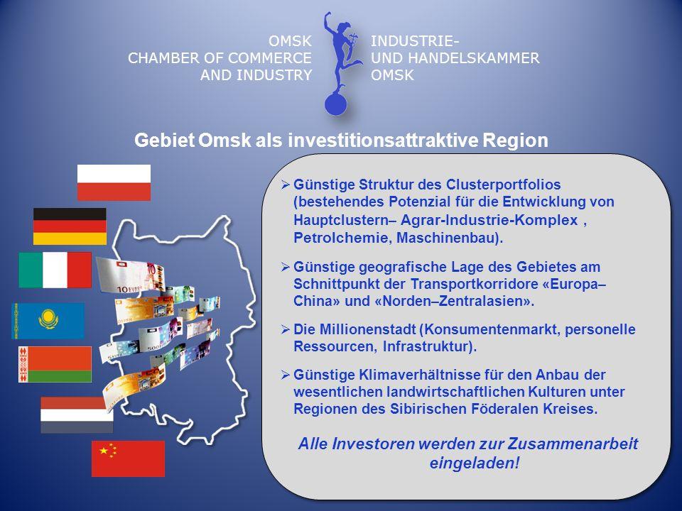 OMSK CHAMBER OF COMMERCE AND INDUSTRY INDUSTRIE- UND HANDELSKAMMER OMSK Gebiet Omsk als investitionsattraktive Region Günstige Struktur des Clusterpor