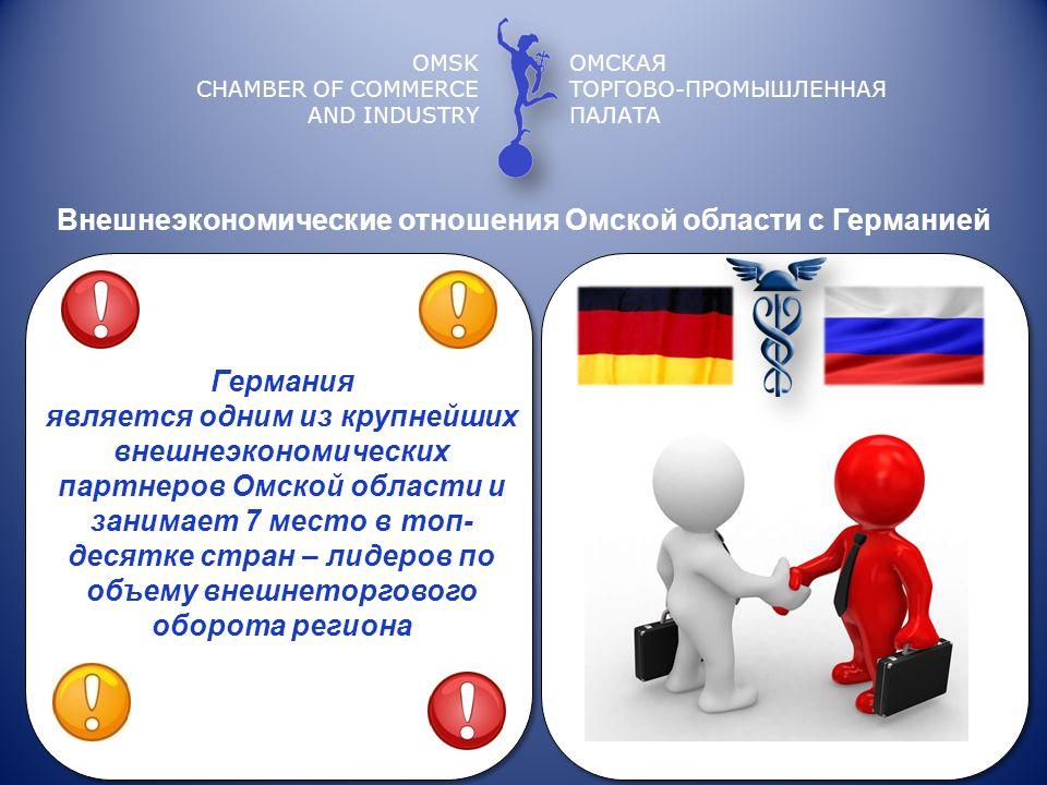 OMSK CHAMBER OF COMMERCE AND INDUSTRY ОМСКАЯ ТОРГОВО-ПРОМЫШЛЕННАЯ ПАЛАТА Внешнеэкономические отношения Омской области с Германией Германия является од