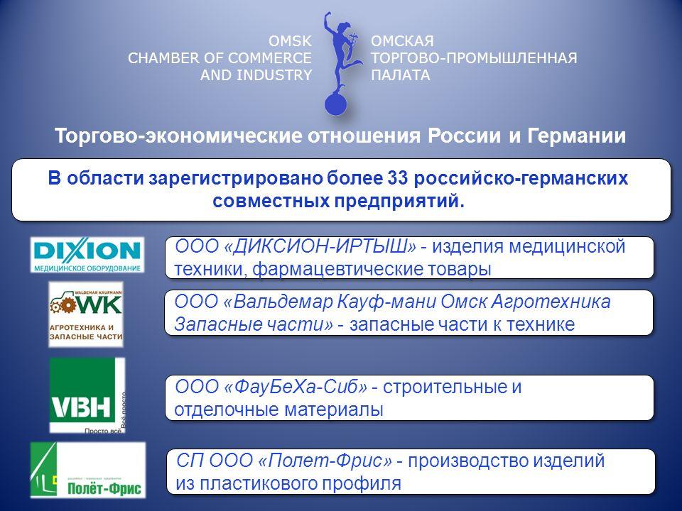 OMSK CHAMBER OF COMMERCE AND INDUSTRY ОМСКАЯ ТОРГОВО-ПРОМЫШЛЕННАЯ ПАЛАТА В области зарегистрировано более 33 российско-германских совместных предприят