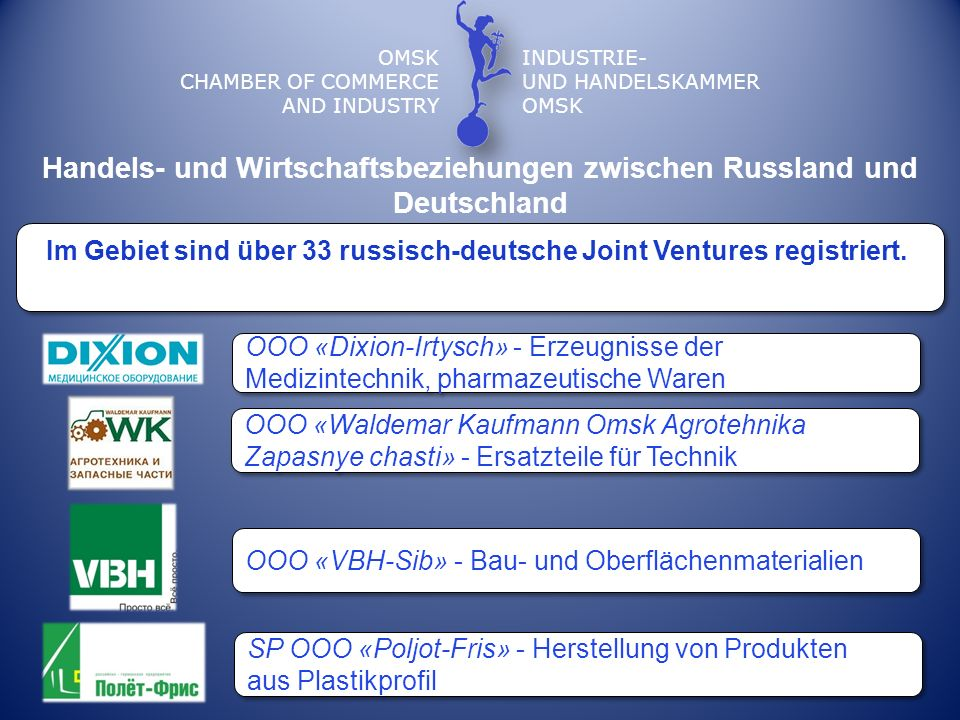 OMSK CHAMBER OF COMMERCE AND INDUSTRY INDUSTRIE- UND HANDELSKAMMER OMSK Im Gebiet sind über 33 russisch-deutsche Joint Ventures registriert. Handels-