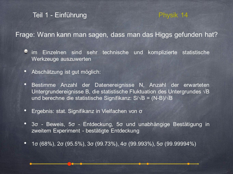 Teil 1 - EinführungPhysik 14 im Einzelnen sind sehr technische und komplizierte statistische Werkzeuge auszuwerten Abschätzung ist gut möglich: Bestim