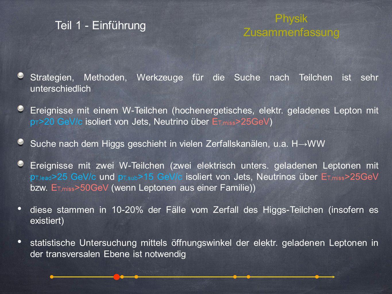 Teil 1 - Einführung Physik Zusammenfassung Strategien, Methoden, Werkzeuge für die Suche nach Teilchen ist sehr unterschiedlich Ereignisse mit einem W