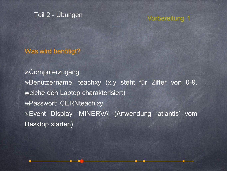 Teil 2 - Übungen Vorbereitung 1 Was wird benötigt? Computerzugang: Benutzername: teachxy (x,y steht für Ziffer von 0-9, welche den Laptop charakterisi