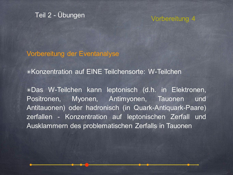 Teil 2 - Übungen Vorbereitung 4 Vorbereitung der Eventanalyse Konzentration auf EINE Teilchensorte: W-Teilchen Das W-Teilchen kann leptonisch (d.h. in