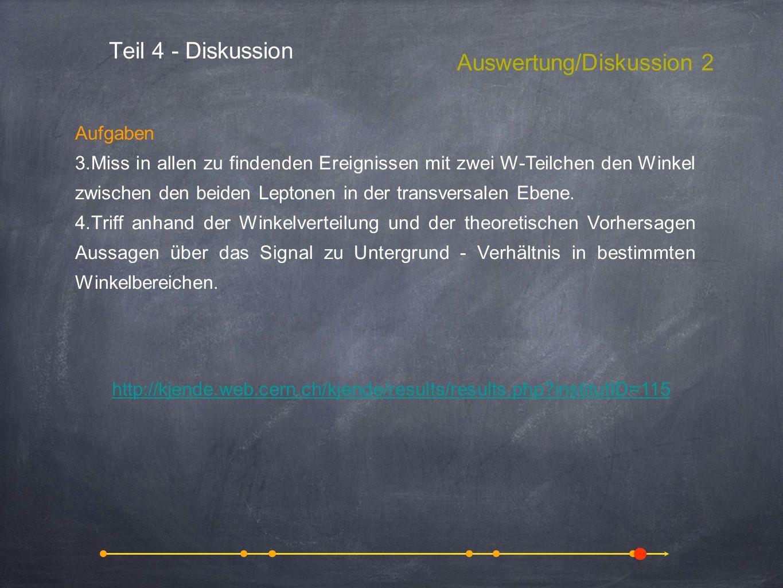 Teil 4 - Diskussion Auswertung/Diskussion 2 Aufgaben 3.Miss in allen zu findenden Ereignissen mit zwei W-Teilchen den Winkel zwischen den beiden Lepto