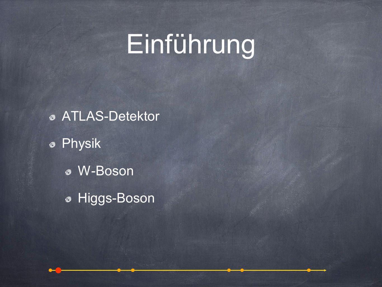 Einführung ATLAS-Detektor Physik W-Boson Higgs-Boson