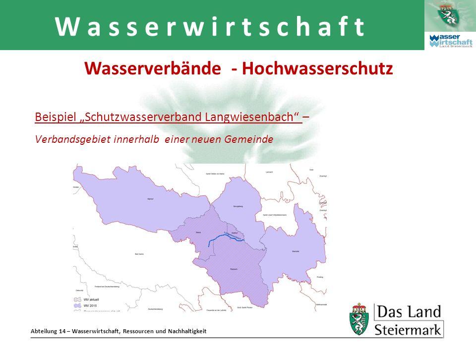 Abteilung 14 – Wasserwirtschaft, Ressourcen und Nachhaltigkeit W a s s e r w i r t s c h a f t Beispiel Schutzwasserverband Langwiesenbach – Verbandsg