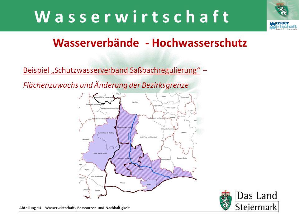 Abteilung 14 – Wasserwirtschaft, Ressourcen und Nachhaltigkeit W a s s e r w i r t s c h a f t Beispiel Schutzwasserverband Saßbachregulierung – Fläch