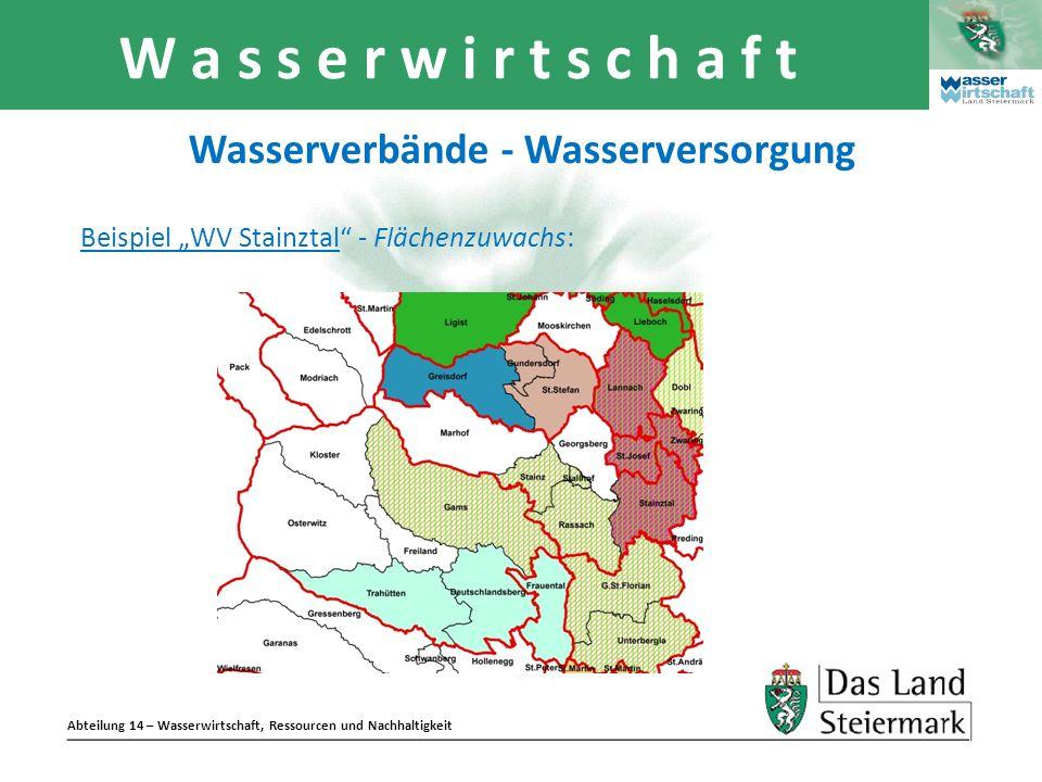 Abteilung 14 – Wasserwirtschaft, Ressourcen und Nachhaltigkeit W a s s e r w i r t s c h a f t Wasserverbände - Wasserversorgung Beispiel WV Stainztal