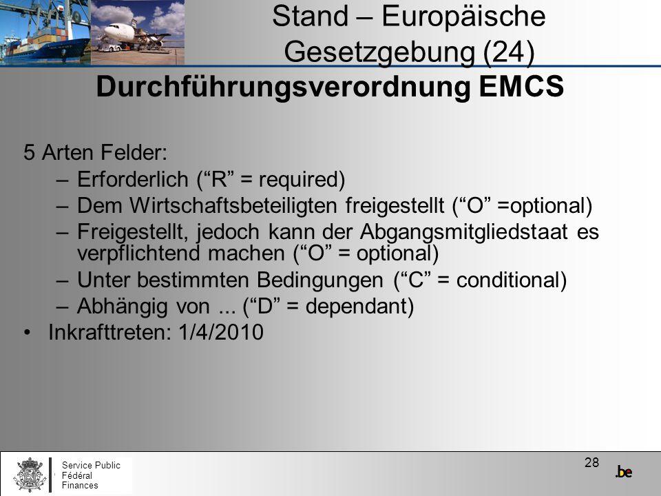 28 Stand – Europäische Gesetzgebung (24) Durchführungsverordnung EMCS 5 Arten Felder: –Erforderlich (R = required) –Dem Wirtschaftsbeteiligten freiges