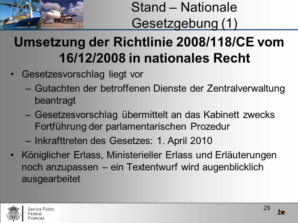 29 Stand – Nationale Gesetzgebung (1) Umsetzung der Richtlinie 2008/118/CE vom 16/12/2008 in nationales Recht Gesetzesvorschlag liegt vor –Gutachten d