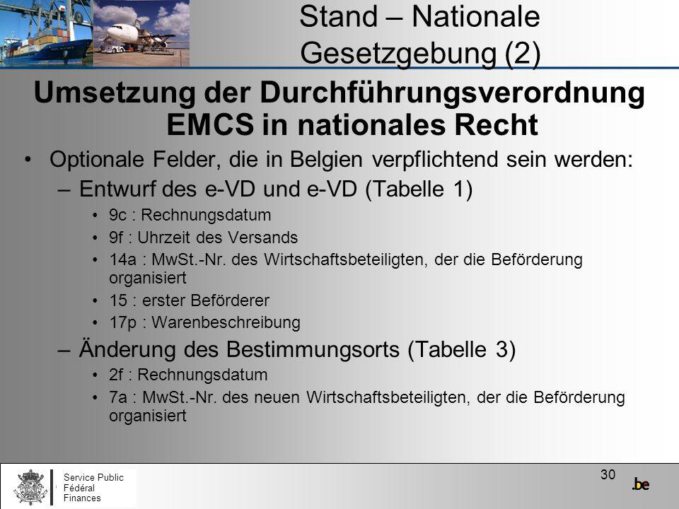 30 Stand – Nationale Gesetzgebung (2) Umsetzung der Durchführungsverordnung EMCS in nationales Recht Optionale Felder, die in Belgien verpflichtend se