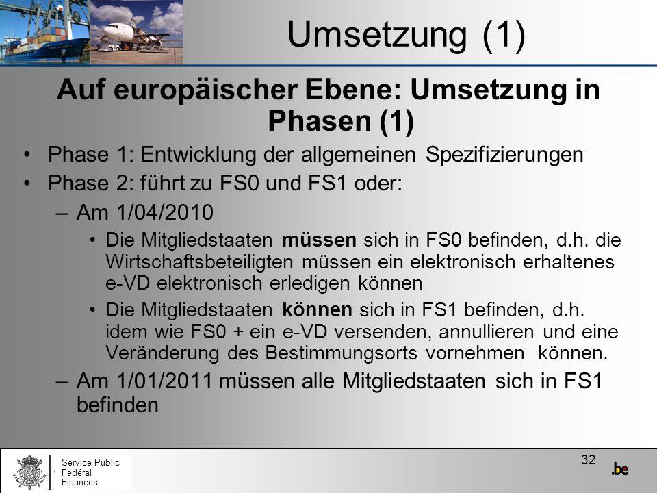 32 Umsetzung (1) Auf europäischer Ebene: Umsetzung in Phasen (1) Phase 1: Entwicklung der allgemeinen Spezifizierungen Phase 2: führt zu FS0 und FS1 o