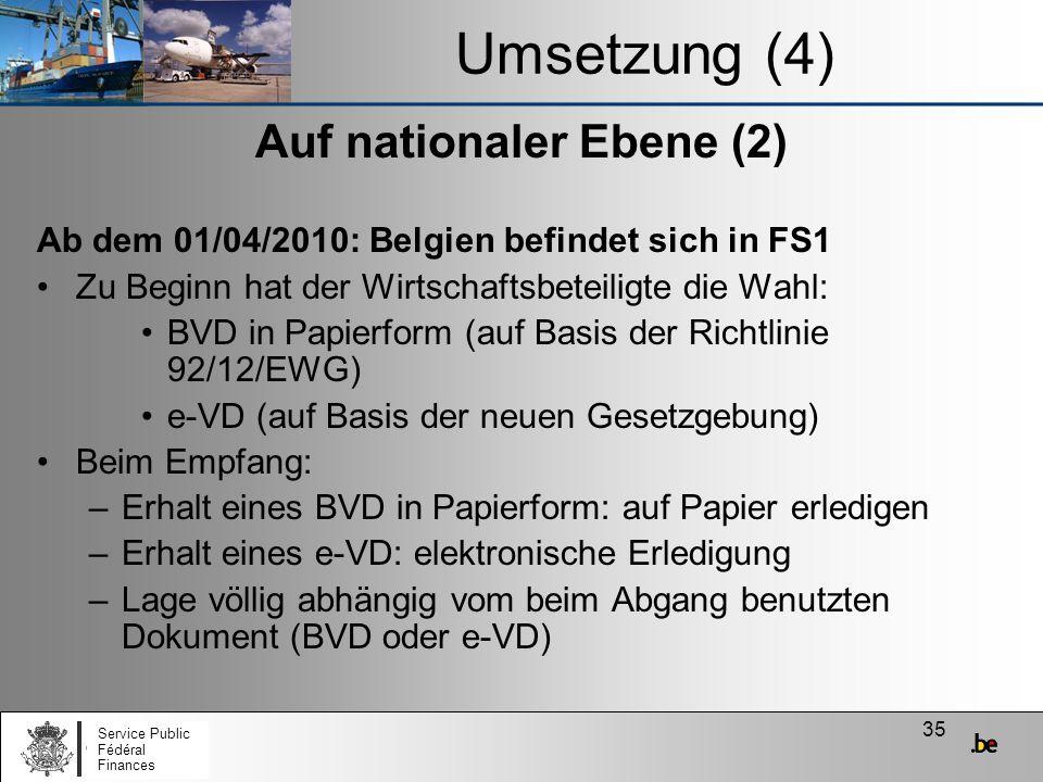 35 Umsetzung (4) Auf nationaler Ebene (2) Ab dem 01/04/2010: Belgien befindet sich in FS1 Zu Beginn hat der Wirtschaftsbeteiligte die Wahl: BVD in Pap