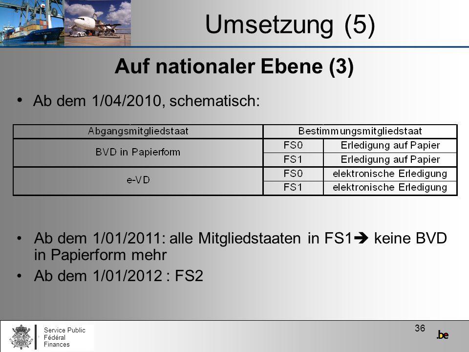 36 Auf nationaler Ebene (3) Ab dem 1/01/2011: alle Mitgliedstaaten in FS1 keine BVD in Papierform mehr Ab dem 1/01/2012 : FS2 Umsetzung (5) Ab dem 1/0