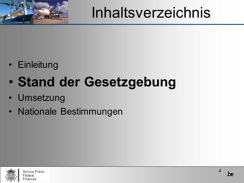35 Umsetzung (4) Auf nationaler Ebene (2) Ab dem 01/04/2010: Belgien befindet sich in FS1 Zu Beginn hat der Wirtschaftsbeteiligte die Wahl: BVD in Papierform (auf Basis der Richtlinie 92/12/EWG) e-VD (auf Basis der neuen Gesetzgebung) Beim Empfang: –Erhalt eines BVD in Papierform: auf Papier erledigen –Erhalt eines e-VD: elektronische Erledigung –Lage völlig abhängig vom beim Abgang benutzten Dokument (BVD oder e-VD) Service Public Fédéral Finances