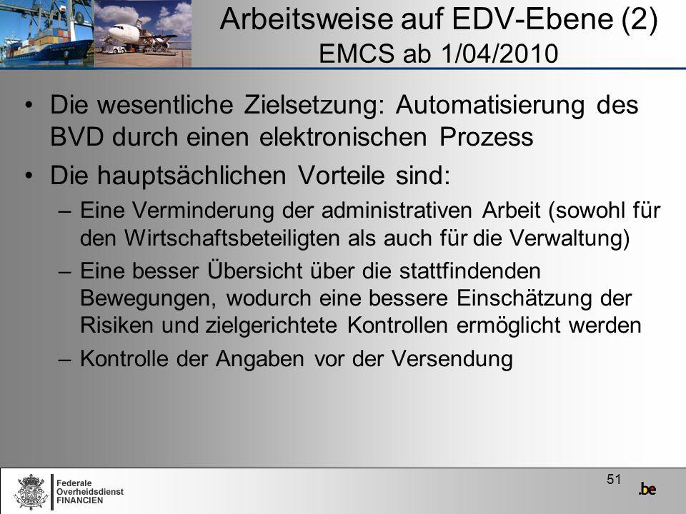 51 Arbeitsweise auf EDV-Ebene (2) EMCS ab 1/04/2010 Die wesentliche Zielsetzung: Automatisierung des BVD durch einen elektronischen Prozess Die haupts