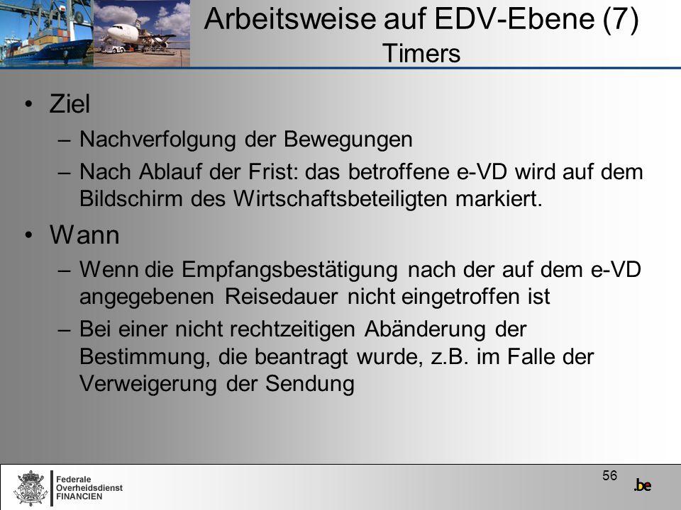 56 Arbeitsweise auf EDV-Ebene (7) Timers Ziel –Nachverfolgung der Bewegungen –Nach Ablauf der Frist: das betroffene e-VD wird auf dem Bildschirm des W