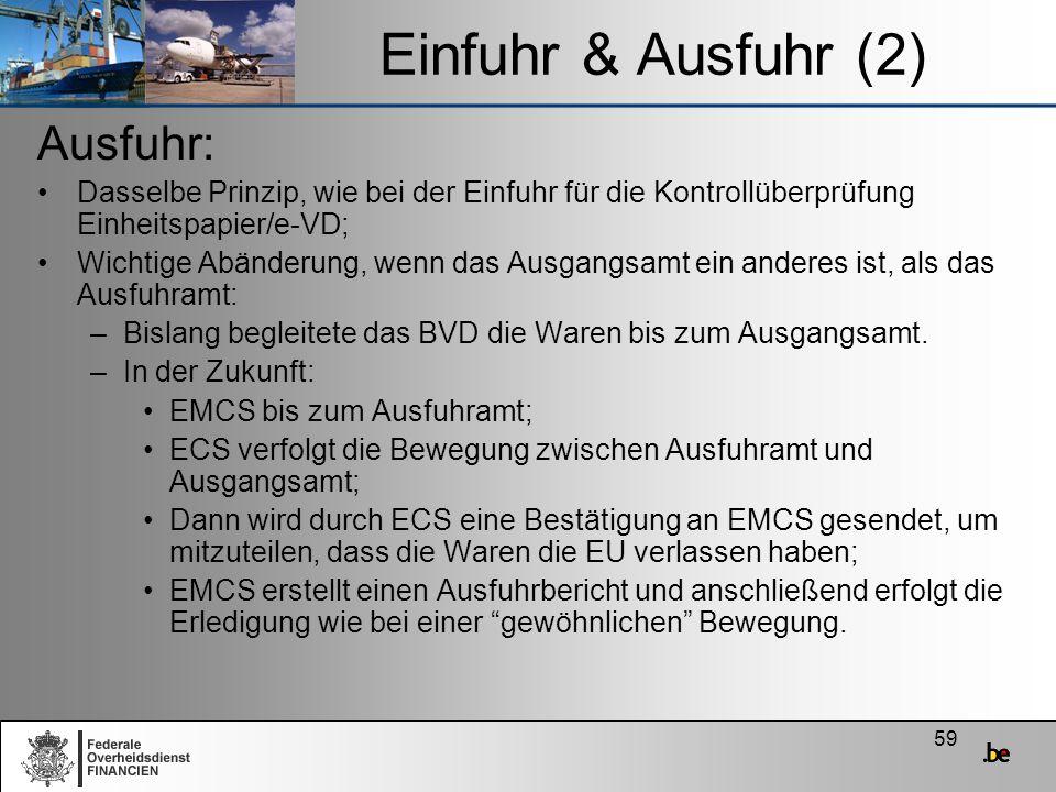 59 Einfuhr & Ausfuhr (2) Ausfuhr: Dasselbe Prinzip, wie bei der Einfuhr für die Kontrollüberprüfung Einheitspapier/e-VD; Wichtige Abänderung, wenn das