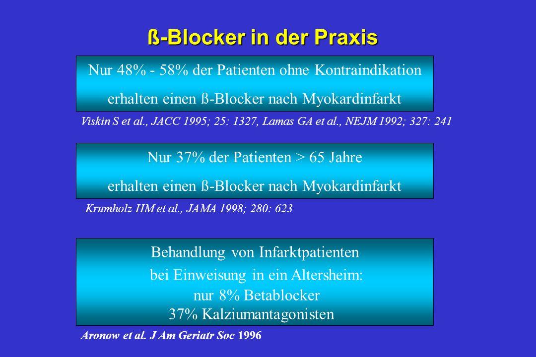 Betablocker nach Herzinfarkt Long term trials - predictors of benefit nInitial intravenous dose –no additional benefit (RR 0.87 (0.61 - 1.22)) –no rea