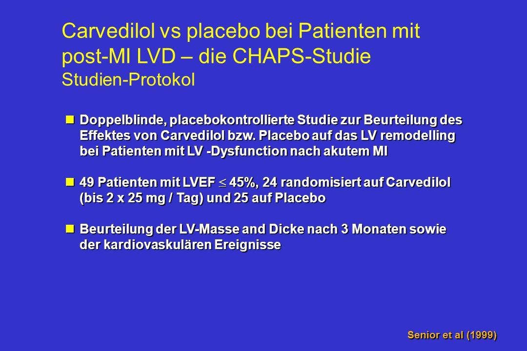 ß-Blocker in der Praxis Nur 48% - 58% der Patienten ohne Kontraindikation erhalten einen ß-Blocker nach Myokardinfarkt Viskin S et al., JACC 1995; 25: