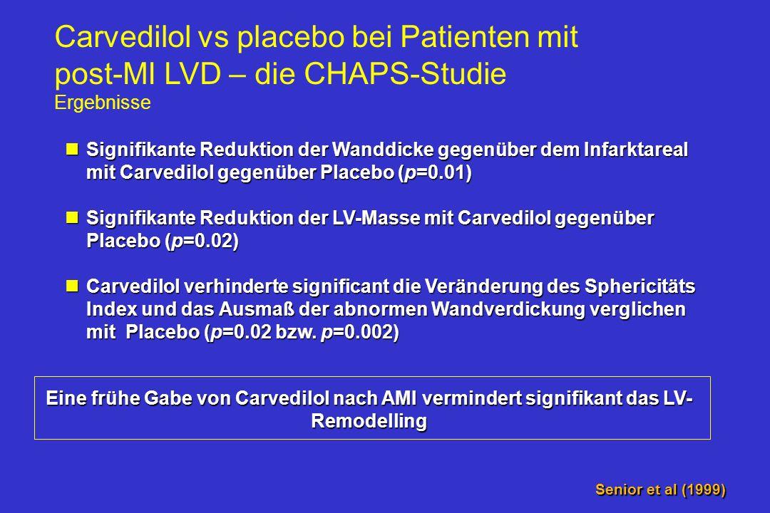 Carvedilol verhindert Remodeling nach AMI LV Masse (Gramm) 13 12 11 10 p=0.01 Wanddicke (mm) 1.9 1.6 1.3 p=0.02 90 days 7 days Sphericity index 275 22