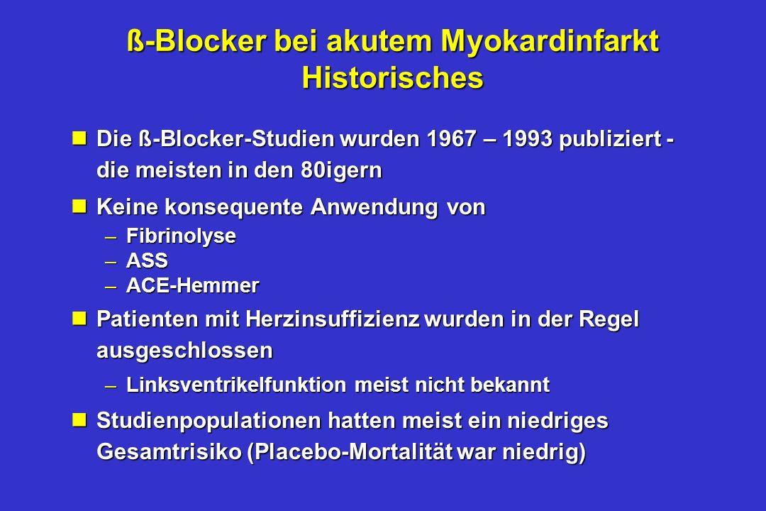 ß-Blocker bei akutem Myokardinfarkt Historisches nDie ß-Blocker-Studien wurden 1967 – 1993 publiziert - die meisten in den 80igern nKeine konsequente Anwendung von –Fibrinolyse –ASS –ACE-Hemmer nPatienten mit Herzinsuffizienz wurden in der Regel ausgeschlossen –Linksventrikelfunktion meist nicht bekannt nStudienpopulationen hatten meist ein niedriges Gesamtrisiko (Placebo-Mortalität war niedrig)