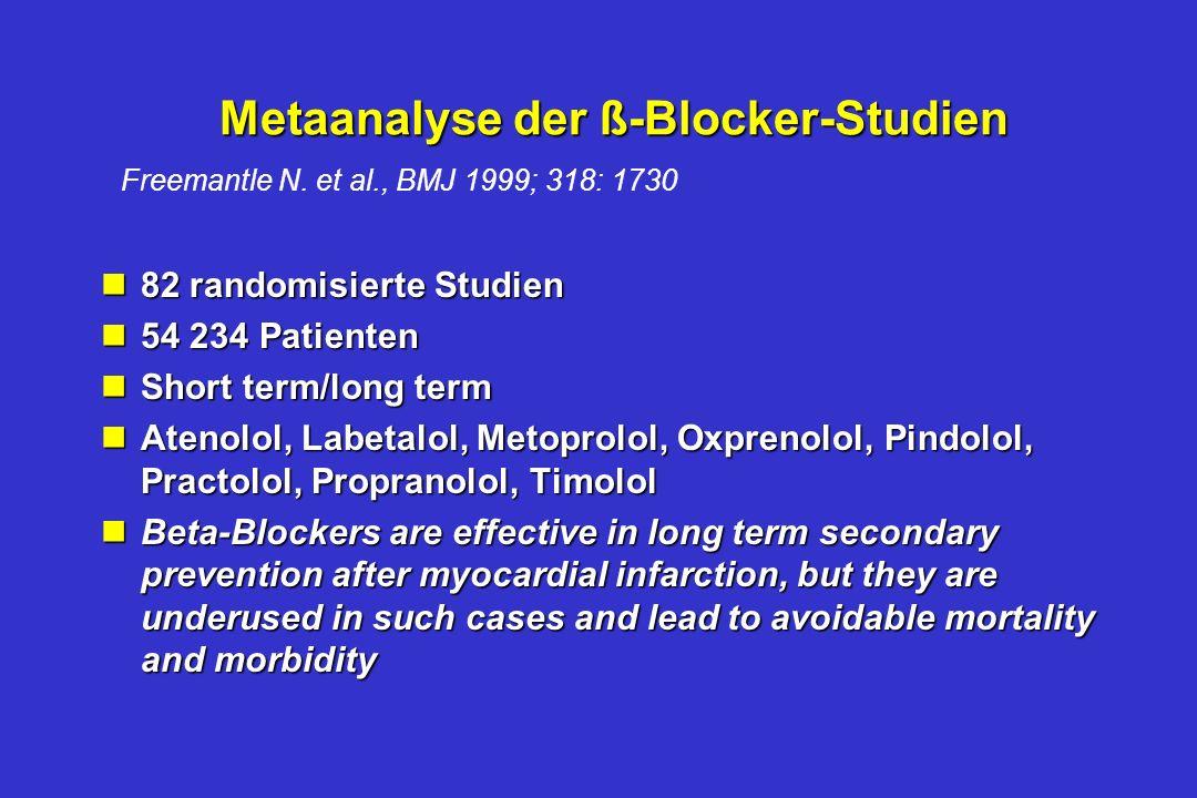 ß-Blocker bei akutem Myokardinfarkt Historisches nDie ß-Blocker-Studien wurden 1967 – 1993 publiziert - die meisten in den 80igern nKeine konsequente
