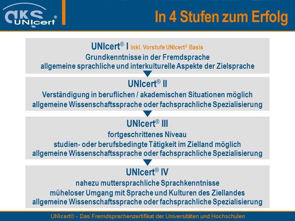 In 4 Stufen zum Erfolg UNIcert ® I inkl. Vorstufe UNIcert ® Basis Grundkenntnisse in der Fremdsprache allgemeine sprachliche und interkulturelle Aspek