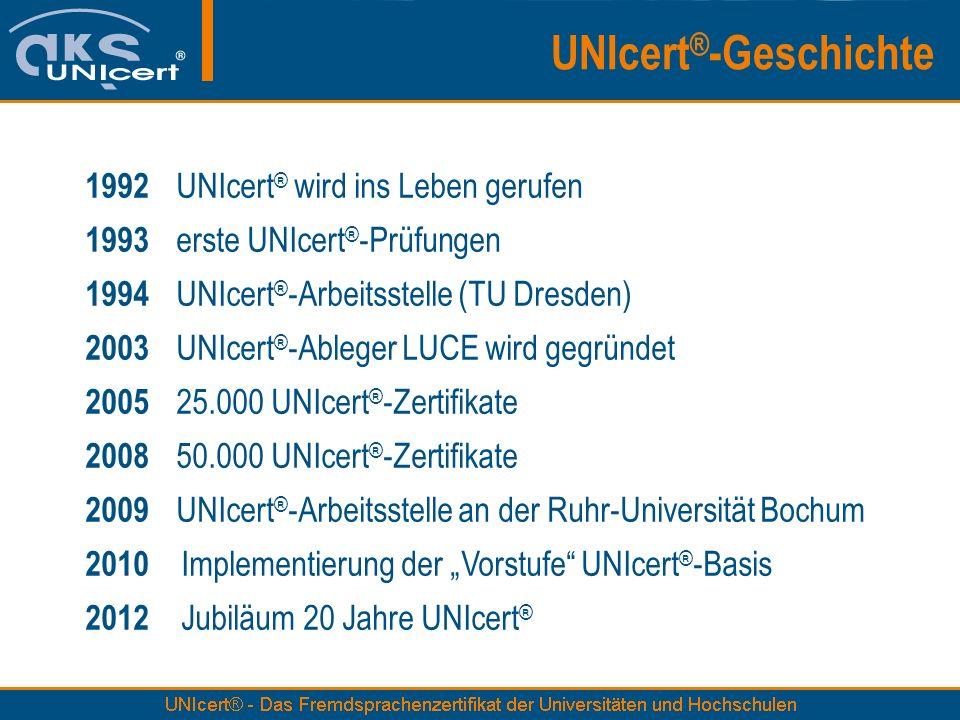 UNIcert ® -Geschichte 1992 UNIcert ® wird ins Leben gerufen 1993 erste UNIcert ® -Prüfungen 1994 UNIcert ® -Arbeitsstelle (TU Dresden) 2003 UNIcert ®