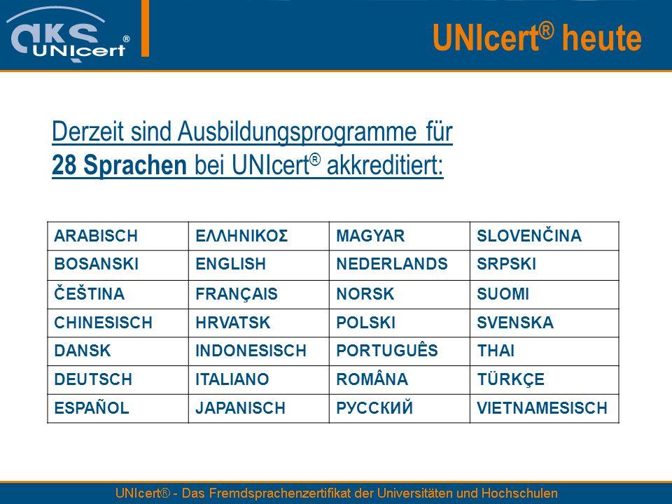 Derzeit sind Ausbildungsprogramme für 28 Sprachen bei UNIcert ® akkreditiert: UNIcert ® heute ARABISCHΕΛΛΗΝΙΚΟΣMAGYARSLOVENČINA BOSANSKIENGLISHNEDERLA