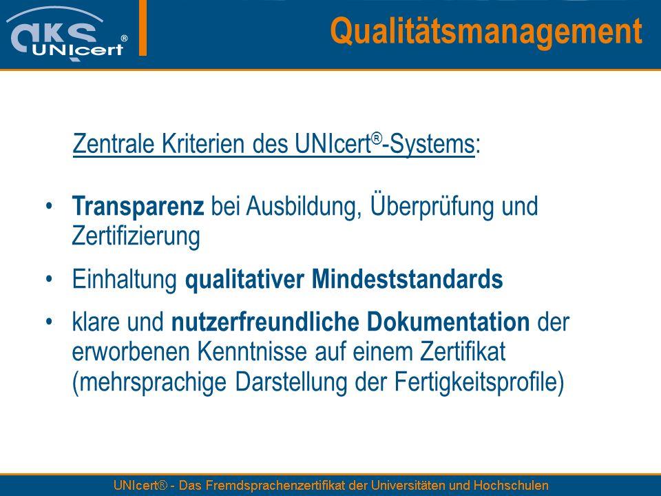 Transparenz bei Ausbildung, Überprüfung und Zertifizierung Einhaltung qualitativer Mindeststandards klare und nutzerfreundliche Dokumentation der erwo