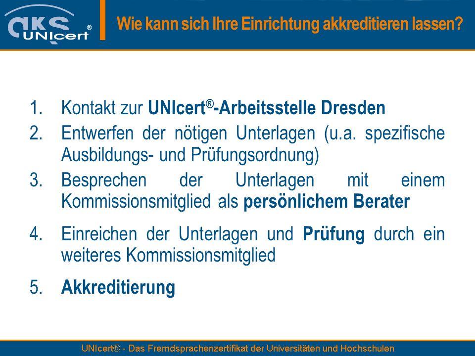 1.Kontakt zur UNIcert ® -Arbeitsstelle Dresden 2.Entwerfen der nötigen Unterlagen (u.a. spezifische Ausbildungs- und Prüfungsordnung) 3.Besprechen der