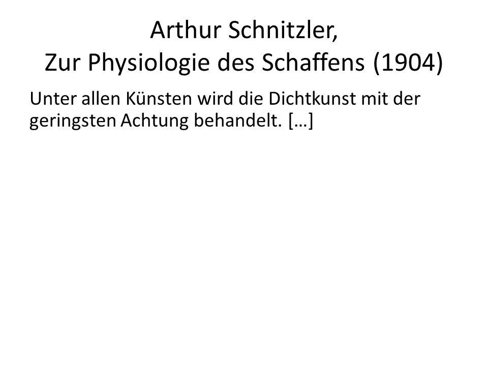 Arthur Schnitzler, Zur Physiologie des Schaffens (1904) Unter allen Künsten wird die Dichtkunst mit der geringsten Achtung behandelt. […] Daran schein