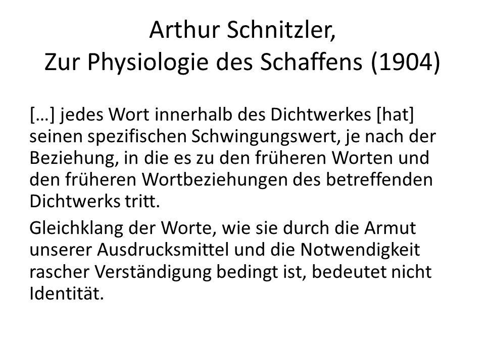 Arthur Schnitzler, Zur Physiologie des Schaffens (1904) […] jedes Wort innerhalb des Dichtwerkes [hat] seinen spezifischen Schwingungswert, je nach de