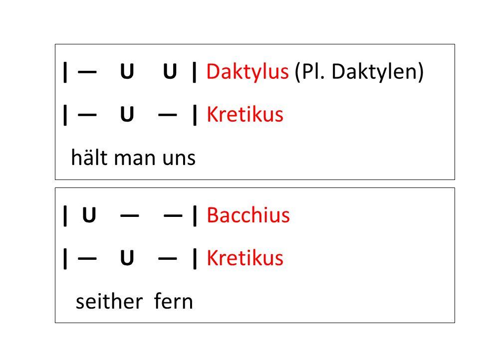 | U U | Daktylus (Pl. Daktylen) | U | Kretikus hält man uns | U | Bacchius | U | Kretikus seither fern