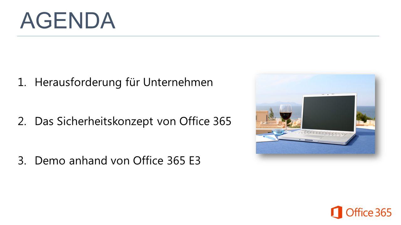 1.Herausforderung für Unternehmen 2.Das Sicherheitskonzept von Office 365 3.Demo anhand von Office 365 E3
