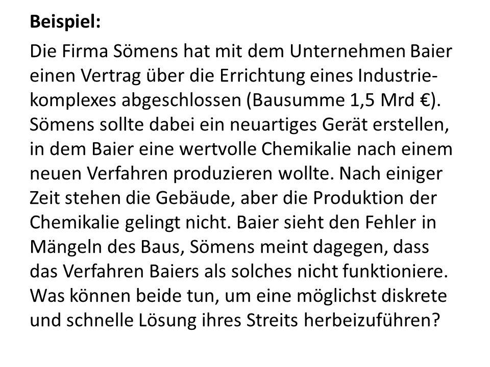 Beispiel: Die Firma Sömens hat mit dem Unternehmen Baier einen Vertrag über die Errichtung eines Industrie- komplexes abgeschlossen (Bausumme 1,5 Mrd ).