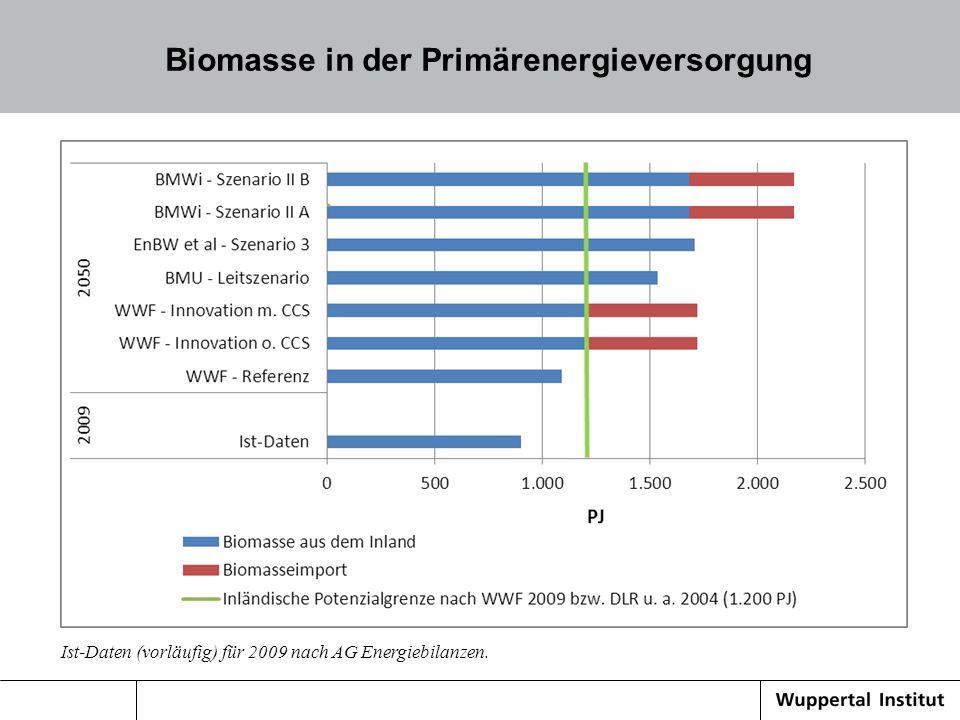 Biomasse in der Primärenergieversorgung Ist-Daten (vorläufig) für 2009 nach AG Energiebilanzen.